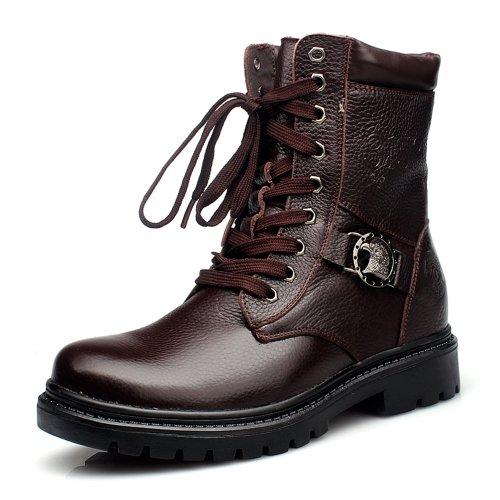 Gog 高哥 内增高男靴 男式靴子真皮冬季 军靴男特种兵马丁靴加绒棉靴