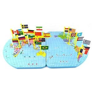 世界地图插国旗儿童拼图 大号52*35厘米 认识世界地理国旗 木制早教