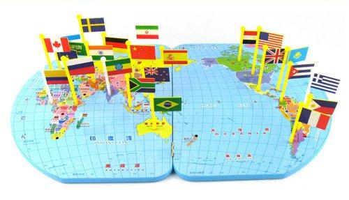 插国旗游戏 认识世界地图和各国国旗 大号52*35厘米 认识世界地理国旗