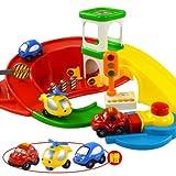 【网上城】贝乐星  mini弹射卡通车组合 积木拼插停车场 配赠3只玩具车-图片