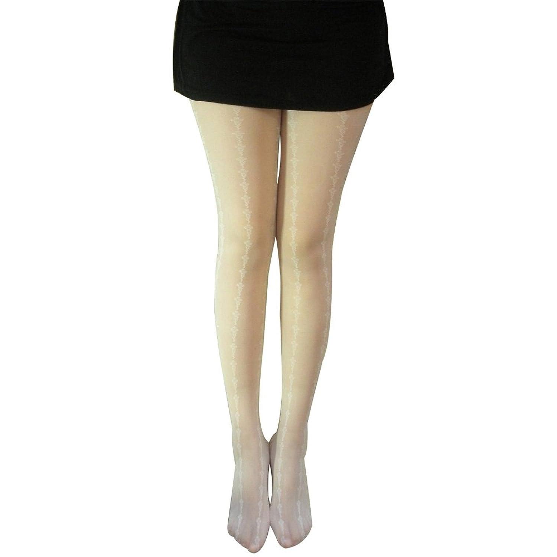 浩真/haozhen 竖条花藤菱形格连裤袜子 连裤丝袜 超薄