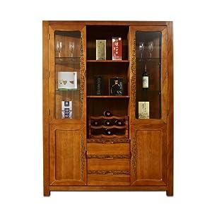 楸木世家 东南亚风格新中式纯实木楸木雕花酒柜