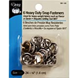 Dritz Heavy Duty Snap Fasteners-Nickel - Size 24 - 5/8 Inch - 6 Count