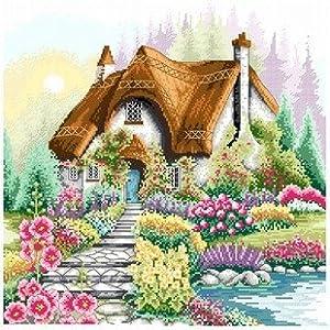 dmc 多美绣 大幅客厅卧室欧式风景油画湖边小屋 法国