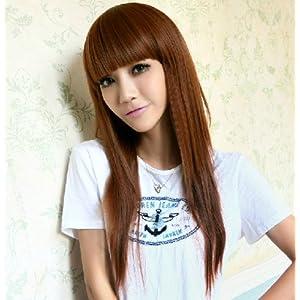 齐刘海长直发假发中长发女清新可爱女生假发逼真柔顺