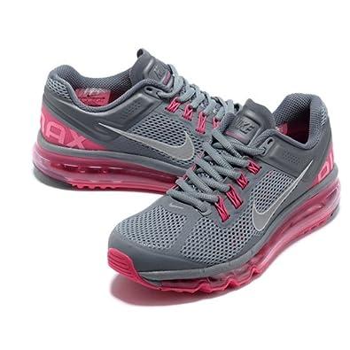 nike耐克2013新款男女款airmax+全掌气垫跑步鞋运动鞋灰粉高清图片