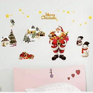 薇美嘉 三代 圣诞老人B款 圣诞节装饰布置 可移除透明磨砂墙贴纸儿