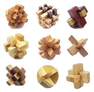 好幼礼 成人益智休闲玩具鲁班木制鲁班球 智力玩具孔明锁鲁班锁9件套