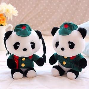 甜蜜城堡毛绒玩具布娃娃蓝白玩偶超萌可爱军装熊猫公仔(全长:约28cm