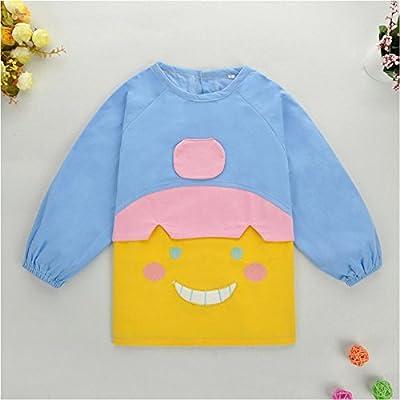 护衣 儿童画画衣 儿童吃饭衣反穿衣 (100(100偏小), 蓝色(笑脸娃娃))