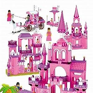 沃马 沃马积木j5739a女孩益智拼装玩具 7合1城堡房屋 梦幻公主城堡