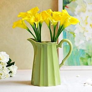 欧式水罐花瓶 家居摆饰 欧式陶瓷浮雕小花器 美式装饰品摆件 浅绿色