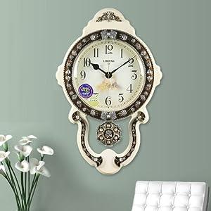 丽盛中号欧式静音客厅挂钟/挂表/卧室钟表/餐厅摆钟时钟 (白色)