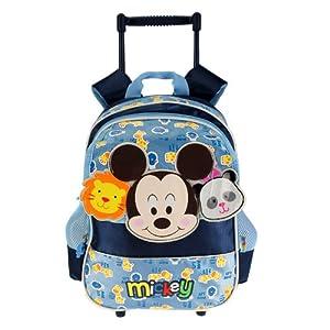 disney 迪士尼 米奇儿童拉杆书包幼儿可爱动物图案双肩背包 蓝色 mb
