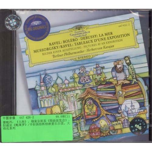 进口cd:拉威尔:鲍列罗舞曲;德彪西:大海;穆索尔:图画展览会