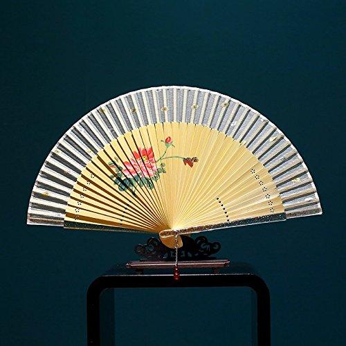 老阊门 苏扇精品 真丝女扇子 中国风手绘女式折扇 水晶扇边工艺扇礼品