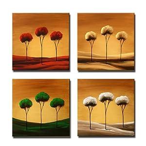 唯佳艺术 纯手绘油画 四拼组合花卉装饰画无框画 卧室