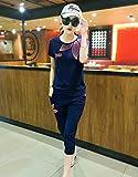 瑾妤 2016韩版运动套装女夏装新款两件套修身时尚运动服套装女夏装女装短袖 女士 GZ0119 (M, 宝蓝)