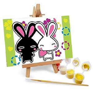 自油自画 数字油画diy手绘 动漫卡通迷你油画 送木架多款选 黑白兔
