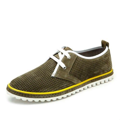 Camel 骆驼 男鞋 夏季时尚休闲透气板鞋真皮头层牛皮系带舒适日常男鞋A432138020