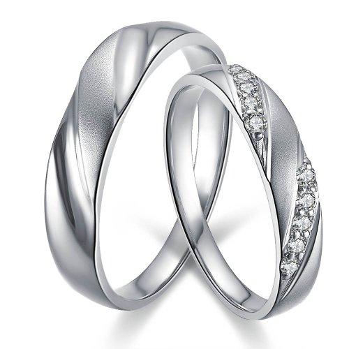 Doido 爱度钻石 18K白金镶嵌钻石情侣对戒 独
