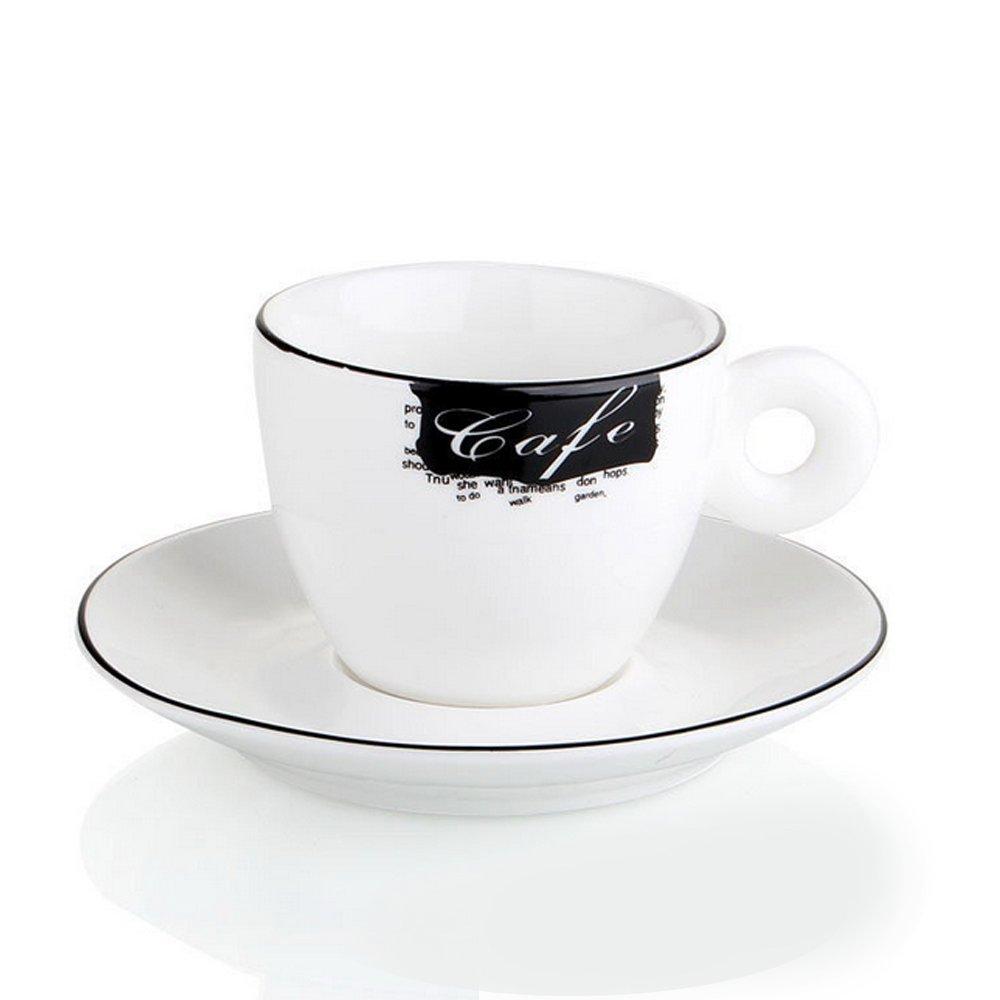 卡布奇诺黑白咖啡杯 黑边意式浓缩咖啡杯 60/150/180ml (180ml)