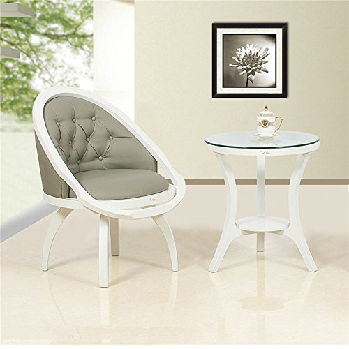 蓝湖之舟 休闲沙发椅 欧式田园阳台卧室 椅子茶几三件套 布艺休闲 围