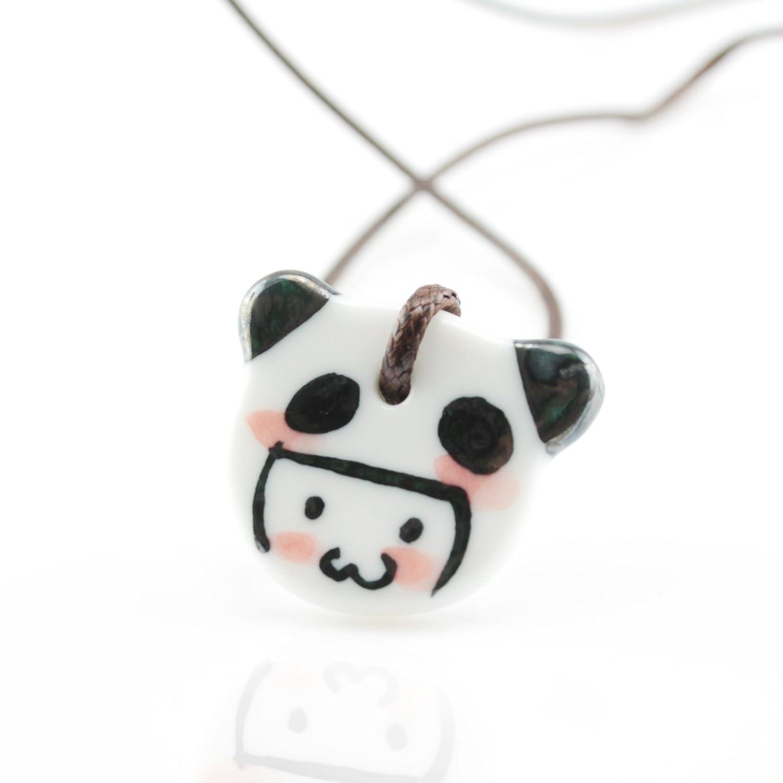 手上功夫 彩绘 熊猫小人 韩版项链 女 可爱 甜美 卡哇伊 踏青饰品