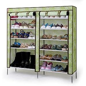 红果村 双排防尘鞋柜 宜家鞋架鞋柜 六层布柜 简易鞋架 DA1601 (太阳花, 116*30*10