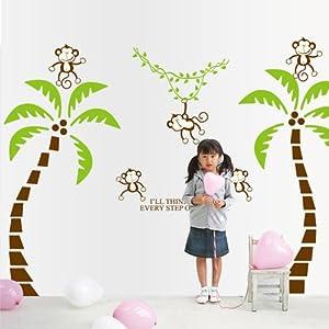 御用家喜 椰子树小猴子儿童房卧室墙壁贴纸可移除墙贴