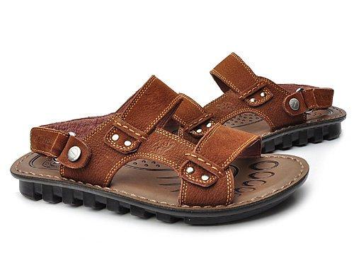 Camel 骆驼 舒适魔术贴带牛皮休闲凉鞋 男 男凉鞋/凉拖 A2210015棕色 brown