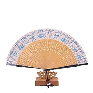 青花瓷绢扇女扇子折扇杭州丝绸礼品扇