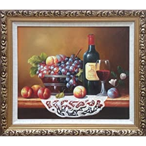 cherry&ken 查理肯 欧式手绘油画 红酒静物水果款 美院画师纯手工绘制