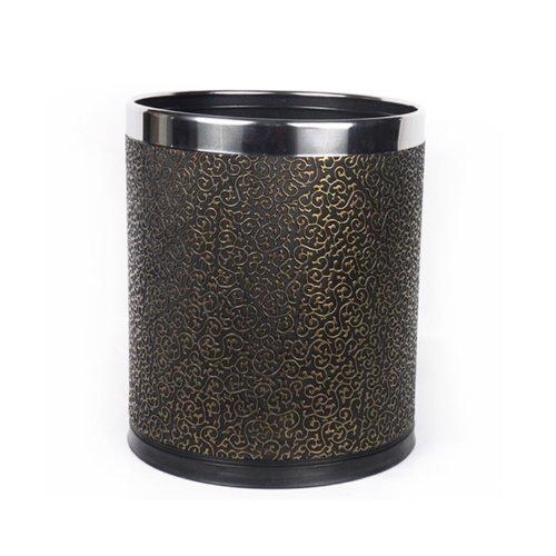 雅皮仕 欧式时尚垃圾桶 高档奢华 创意双层收纳桶 欧式雕纹皮革外桶