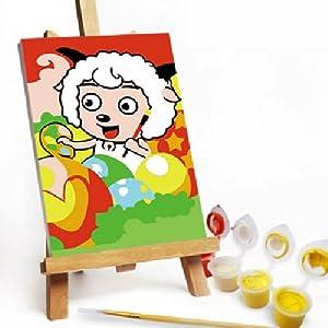 自油自画 diy数字油画 手绘卡通装饰油画 喜羊羊 10*15