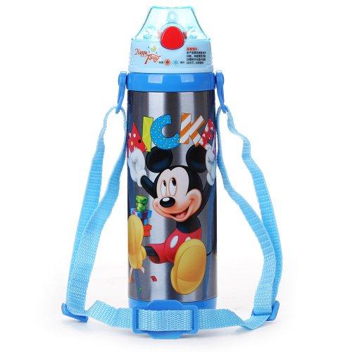 Disney 迪士尼 儿童保温杯 保温壶 不锈钢吸管壶 480ml 儿童妙趣 米奇 安全食品级硅胶吸管系列 男童款 米奇蓝色 GX-5714-图片