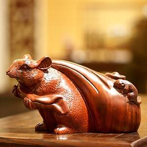和卉堂 木雕工艺品子母鼠布袋老鼠金鼠送宝乔迁开业家居摆件 红檀28cm