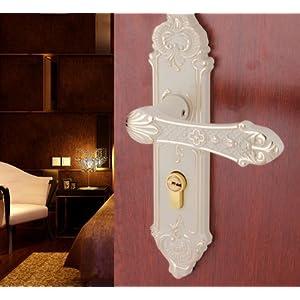 美式白色门锁室内象牙白卧室现代简约欧式把手锁