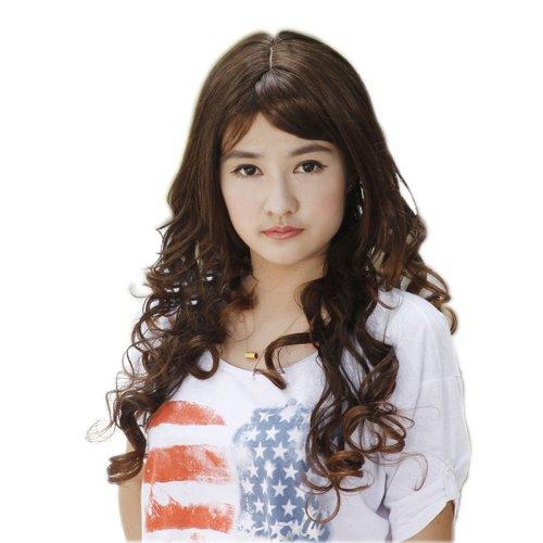 娇滴滴 假发 日系甜美 可爱公主 修脸 蓬松可齐可斜刘海 长卷发 l-001