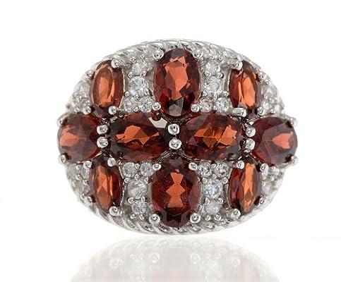 湖棠珠宝 天然红石榴戒指 925纯银镶彩宝石戒指 sr6149b6149
