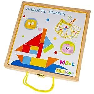 mdol 木多乐益智磁性木质积木拼图mdl-8508 盒装42块装