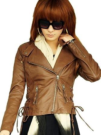 橡菲立领修身棕色pu女皮衣外套