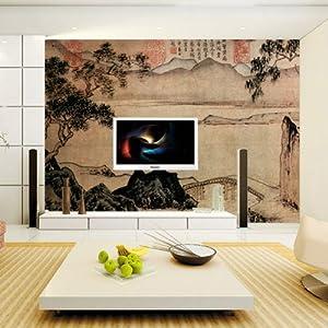 壁纸 壁画 古典山水工笔画 古画水墨画 风景画大型壁画定制 lg浮雕