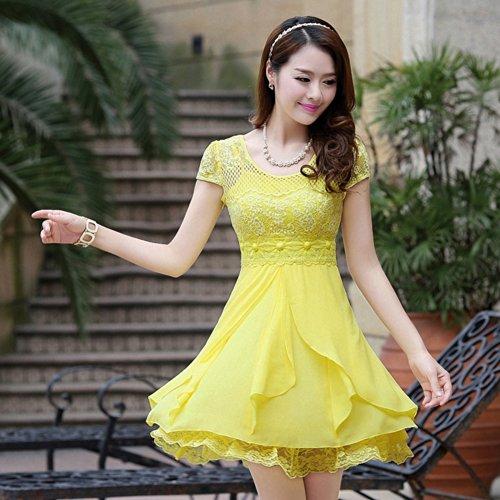 轻熟女装_原素春天 夏装 韩版轻熟少妇 女装夏季修身蕾丝修身显瘦雪纺连衣裙