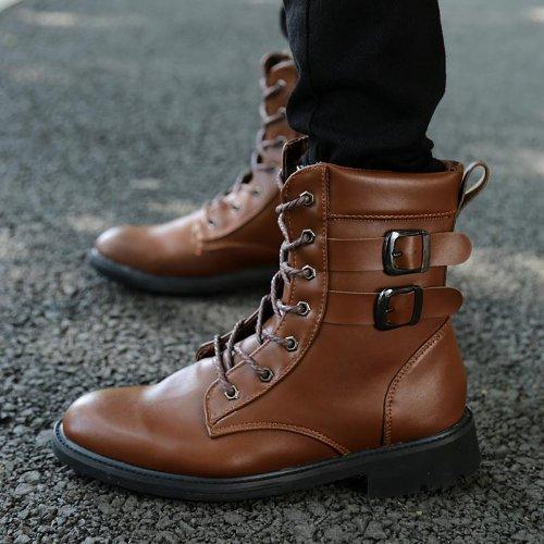 Yulu 优牛 秋冬时尚潮流马丁男靴英伦休闲男鞋加绒保暖工装靴帅气男靴棉靴