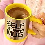 动力时尚 欧式自动咖啡搅拌杯 电动懒人咖啡杯 不锈钢马克杯 自动搅拌咖啡杯 创意糖果色杯子带盖 不锈钢水杯 电动奶茶杯 (黄色)-图片