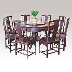 仙游御典红木家具 老挝大红酸枝古典圆餐桌九件套 红酸枝南官帽椅餐桌