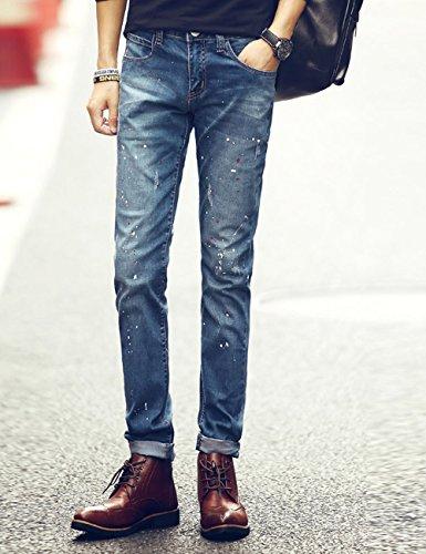 Uyuk 有衣有靠 秋季男士牛仔裤 韩版男式长裤小脚裤 喷漆休闲时尚牛仔裤 K384
