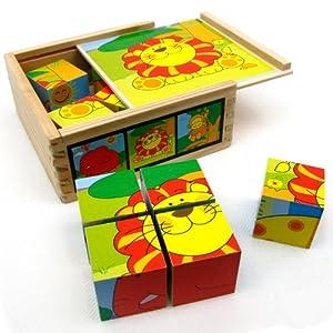 智立方/特宝儿 环保木质玩具 六面体9粒可爱动物方块拼图5636 智慧