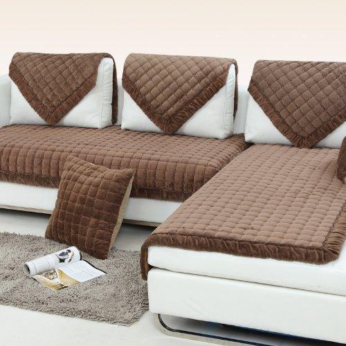 宝家丽 加厚短毛绒沙发垫布艺坐垫实木沙发垫定做皮垫